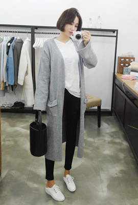 Two-pocket open long cardigan (5th stock)