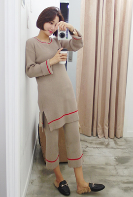 Corrugated cardboard lines knit two-piece set