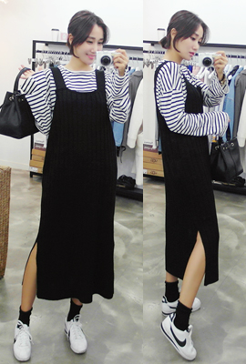 Knit top suspenders dress (15th stock)