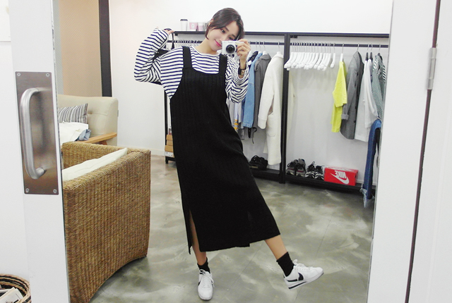 Knit top suspenders dress (14th stock)