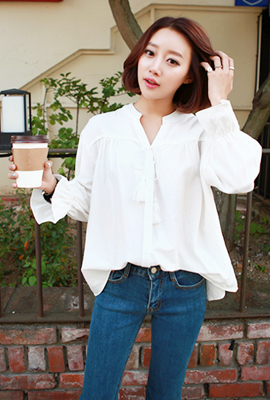 China Open Neck Ruched Blouse