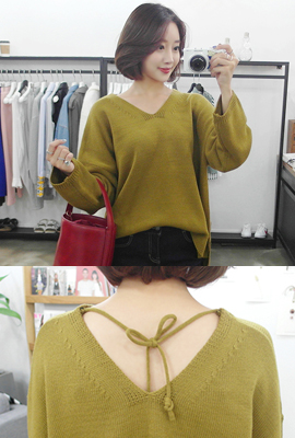 Marion cutting knit V-neck Tee