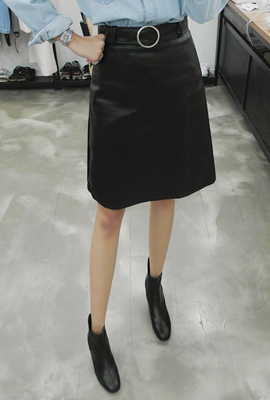Circle Ring Leather Skirt (secondary stock)