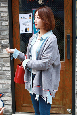 Color Line-in Cardigan (3rd stock)
