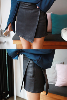 Leather wrap skirt pants