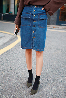 Two button pockets denim skirt