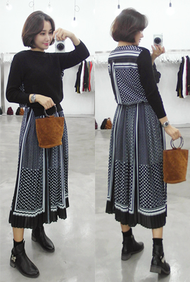 Knit Pleated Long Dress (9th stock)