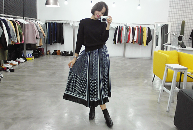 Knit Pleated Long Dress (12th stock)