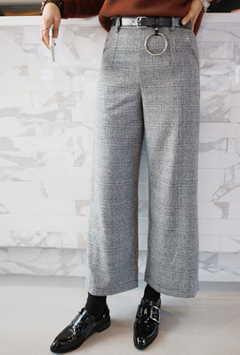 Ring belt wide pants set