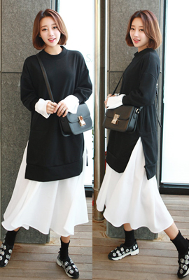 Man-to-man layered long dress (10th stock)