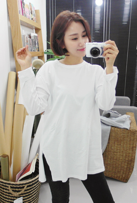 One-time hemming round tee (209 tea stock)
