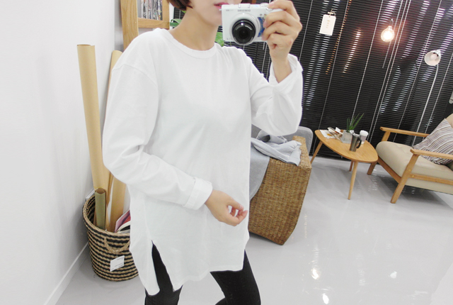 One-size hemming round tee (126th stock)