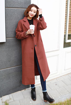 Single lip long coat pocket