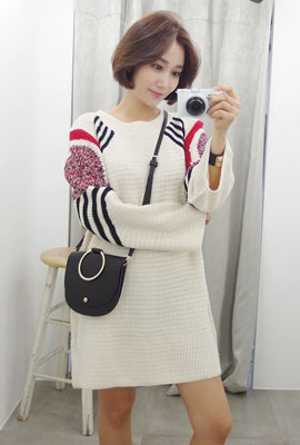 Shoulder Color Mix Knit Dress (4th stock)