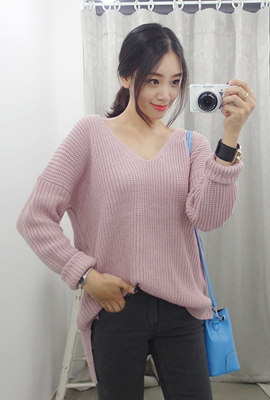 Deep V-neck knit tee Marion (3rd stock)