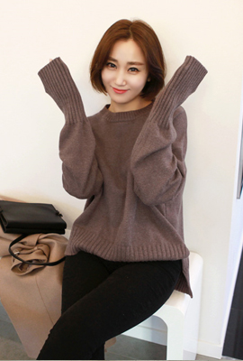 Long sleeve knit tee Corrugated line (secondary stock)