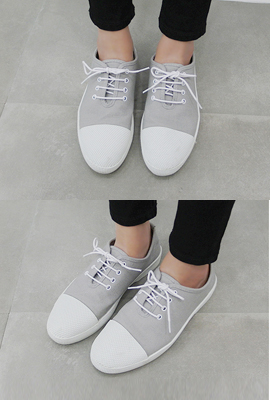 Rounded nose cotton sneakers