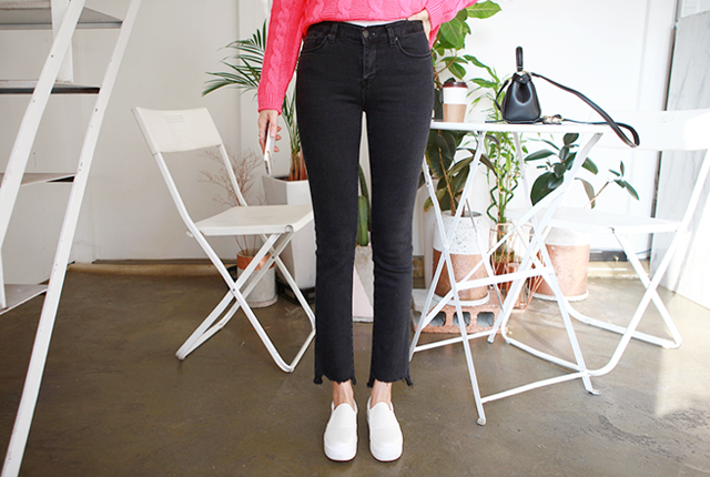 Cutting brushed boot cut denim pants (52 primary stock)