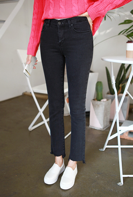 Cutting brushed boot cut denim pants (22 primary stock)
