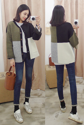 Colored round cardigan (16th stock)