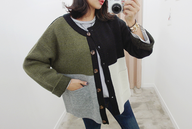 Colored round cardigan (23rd stock)