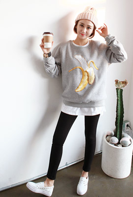 One on one banana embroidery, brushed Tea (5th stock)