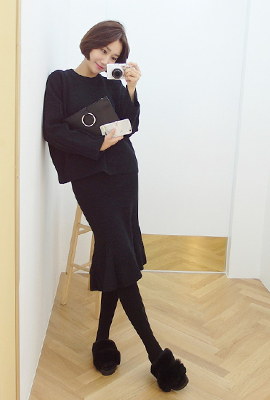 Flare knit two piece set (9th stock)