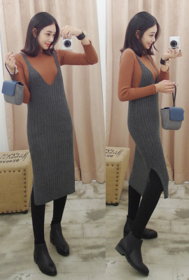 Deep V-neck tank top Knit Long Dress (12 th stock)
