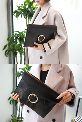 Gold buckle envelope clutch