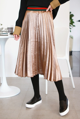 Shining pleated long skirt banding