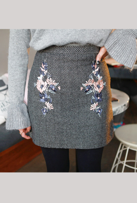 Embroidered herringbone skirt