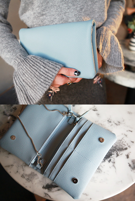 Silver chain leather mini clutch (secondary stock)