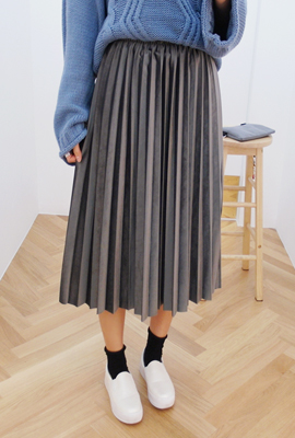 Bending velvet pleated long skirt (secondary stock)