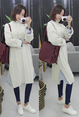 Layered knit shirt dress (9 th stock)