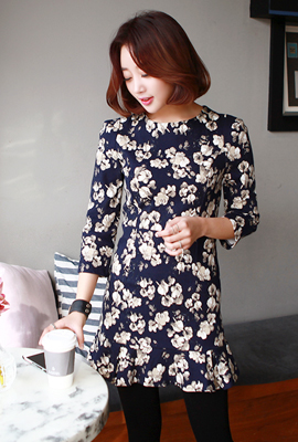 Flare flower pattern dress (secondary stock)