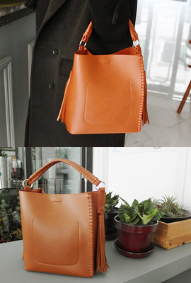 Leather piping long tassel tote bag (secondary stock)