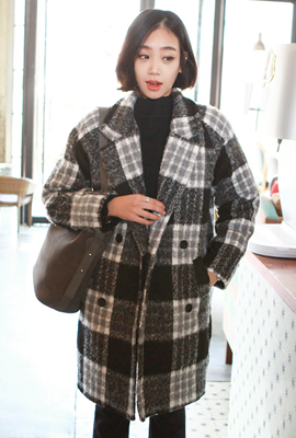 Glen check, double quilted coat