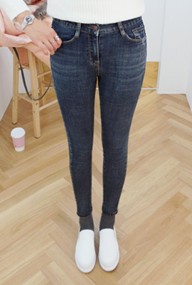 Vintage wash skinny jeans, brushed (secondary stock)