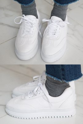 Line-cut leather trimmed sneakers (4th stock)
