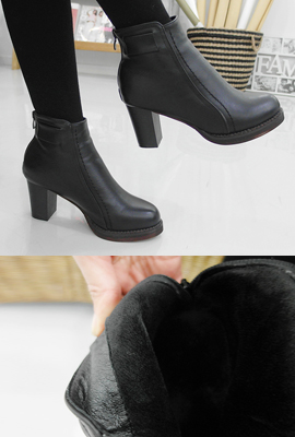 Real Fur Ankle Boots Line Stitch