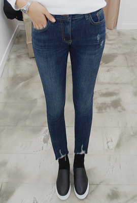 Banding skinny jeans frayed cutter model