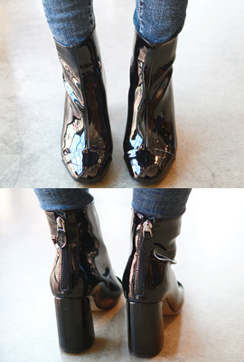Enamel incision Ankle Boots