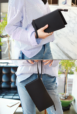 Suede strap mini clutch