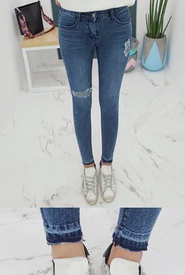 Vintage patch skinny jeans, brushed (secondary stock)