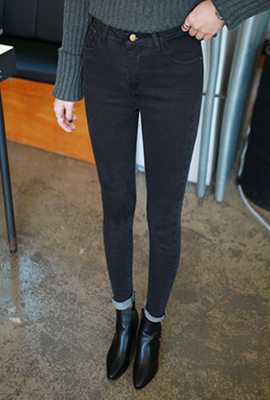 High waist skinny jeans, brushed