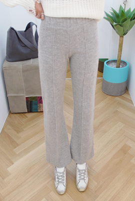 Wide-pin tuck pants brushed banding
