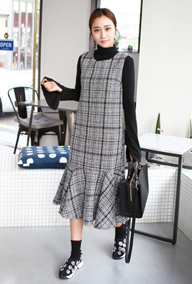 Long flared tweed dress set