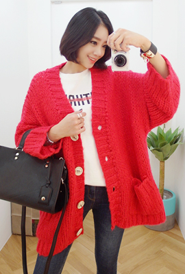 Two loose cardigan pocket button