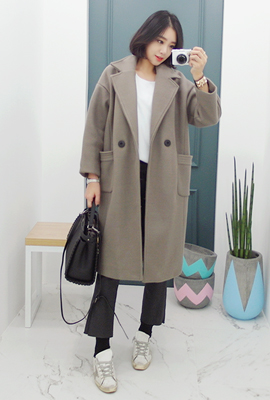 Two pockets Long quilted coat