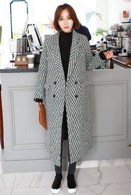 Herringbone double quilted coat rongul